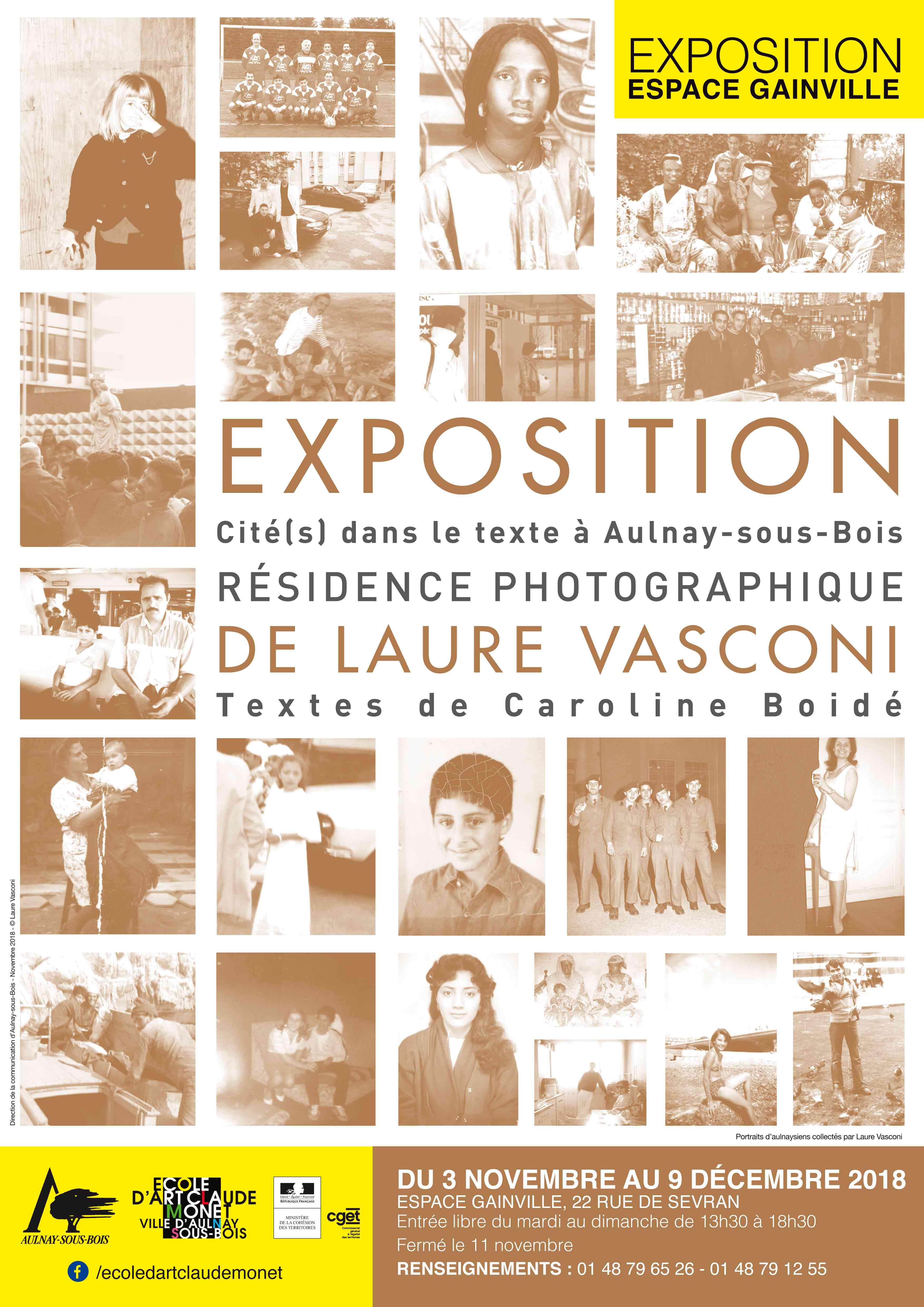 Affiche de l'exposition Laure Vasconi présentant des photos anciennes en SEPIA