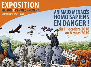 """Exposition à la maison de l'environnement """"Animaux menacées homo sapiens en danger du 1 octobre au 8 mars 2018"""