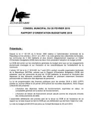 Le rapport d'orientation budgétaire 2019