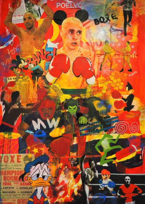 toile de l'exposition de boxe