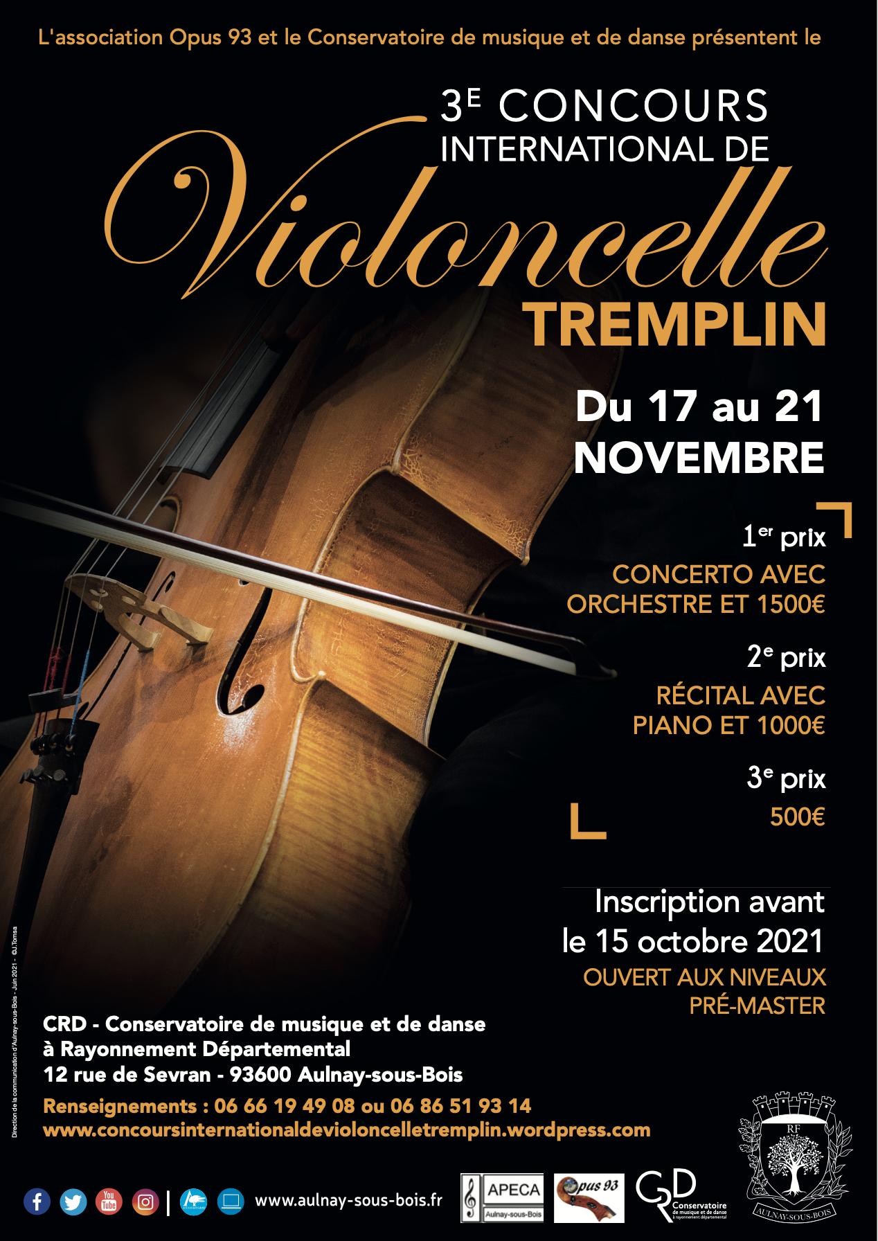 """Concours International de Violoncelle """"Tremplin"""" 3ème édition"""